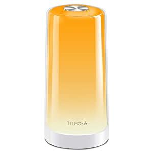 TITIROBA Nightstand Table lamp, LED Touch Sensor Bedside Lamp, Dimmable Warm White Light, Mood Lighting RGB for Bedrooms and Living Room, Plug in