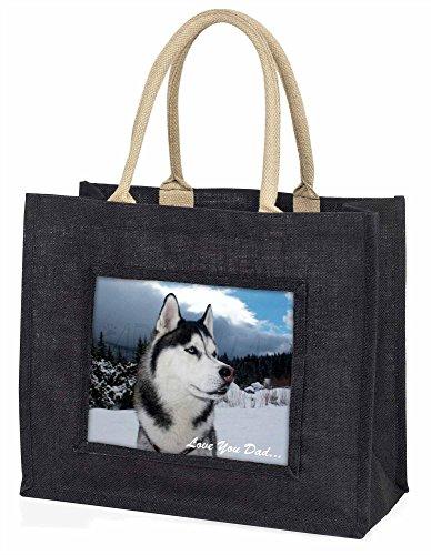 Advanta–Große Einkaufstasche Siberian Husky Love You Dad Große Einkaufstasche Weihnachtsgeschenk Idee, Jute, schwarz, 42x 34,5x 2cm