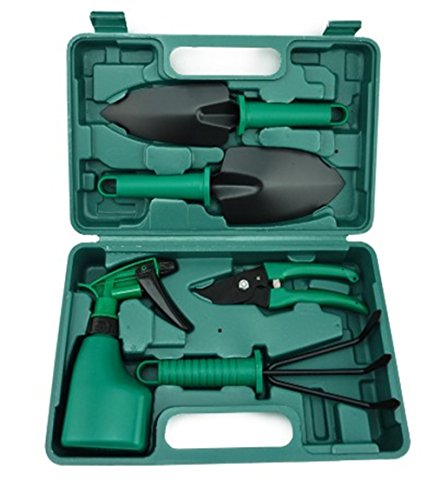 V-NO 5 Piece Garden Tools Set - Gardening Tools - Gardening Gifts Tool Set with Garden Trowel Pruners and More - Vegetable Herb Garden Hand Tools with Storage Box by V-NO