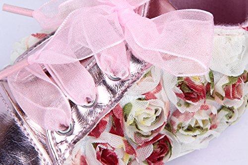 Yue Lian Baby Mädchen Schuhe Spitze Rose Deko Lauflernschuhe PU-Leder Bunt Rosa