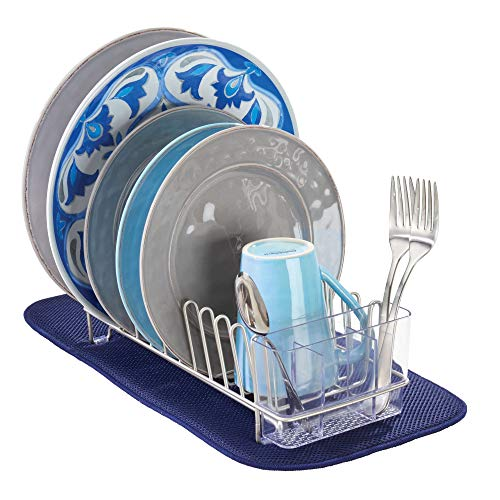 mDesign Kitchen Dish Drying Set, Compact Dish Drainer, Absor