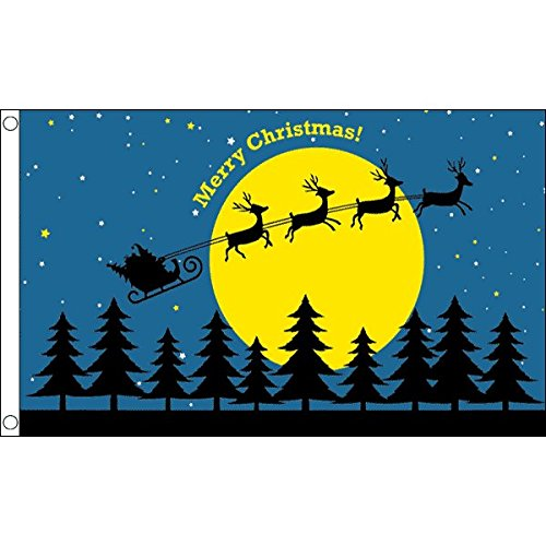 CHRISTMAS MOON FLAG 3' x 5' - MERRY CHRISTMAS FLAGS 90 x 150
