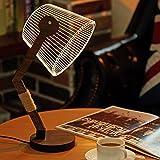 LED 3D Acrylic Bedside Table Lamp Shade Design Desktop Light with USB Plug, Dimmer, Modern Wood Base