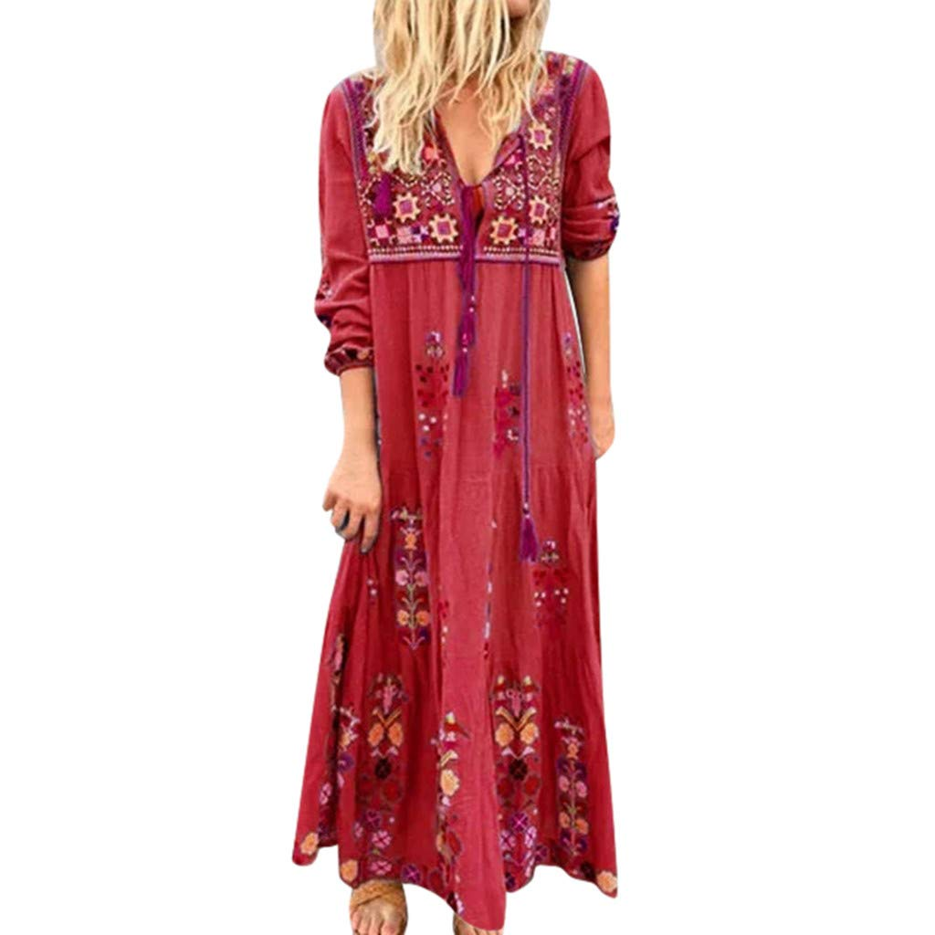 Women Boho Dress Plus Size V Neck Print Lace Up Long Sleeve Casual Loose Maxi Dresses (Red, XXXL) by Jieou