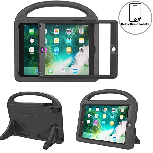 TIRIN Kids Case for iPad 9.7-inch 2018/2017, Shockproof Bumper Handle Stand Hard Cover with Built in Screen Protector for Apple New iPad 9.7 Inch 2018 (iPad 6th Gen) / 2017(iPad 5th Gen) - Black
