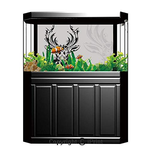 (Blue Wallpaper Sticker Background Decoration,Antlers Decor,Tribal Deer Head shadow Art emblem Wilderness Ornamental Monochrome Artwork Decorative,Artistic Portrait Photo Studio Props Video Drape Wallp)