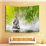 HVEST Buddha Tapestry,Zen Spa Tapestry Wall Hanging,Green Scenery with Fog Wall Blanket for Bedroom,Living Room,Dorm Decor,80 W X 60 H INCH