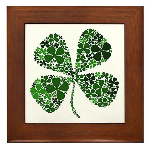 (CafePress - Infinite Luck Four Leaf Clover - Framed Tile, Decorative Tile Wall Hanging)