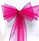 SumDirect 12pcs Beautiful Organza Chair Ribbon Sash (Fuchsia)