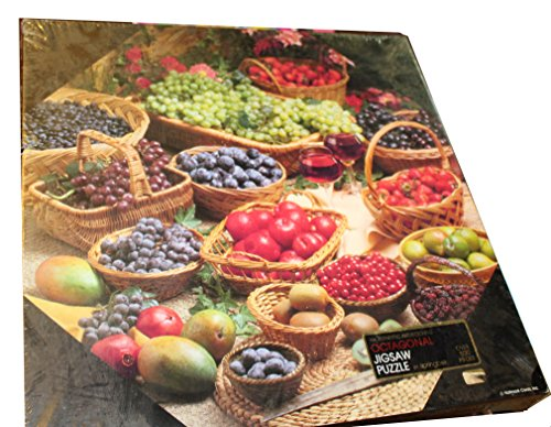 Delicious Basket Delights (Springbok Octagonal 500 Piece Puzzle - Delicious Delights Featuring a Variety of Fruits in Various Wicker Baskets Including Blueberries, Mango, Grapes, Kiwi, Strawberries, and Apples PZL8509)