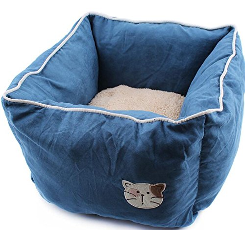 Chusea Cosy Blanket for Cat Deerskin Cashmere Three-Dimensional Environmental Predection White PP Cotton Pet Nest Dark bluee