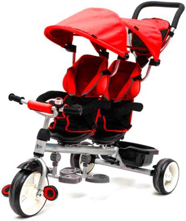 QPLAY Triciclo Evolutivo Gemelar Giro - Rojo - De 10 a 36 Meses - Peso máximo soportable 50kg