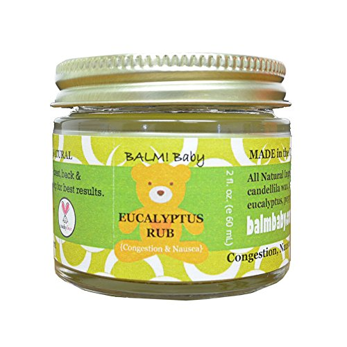 BALM! Baby EUCALYPTUS RUB - Natural Chest & Tummy Rub for Stuffy Noses & Chests and Nausea - 2 oz Glass Jar {Made in the USA!} (Tcw Natural)