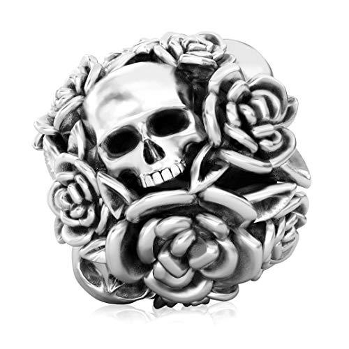 Authentic BELLA FASCINI Skull Rose Flower Bouquet Bead Charm - de Muertos - 925 Silver - Fits -
