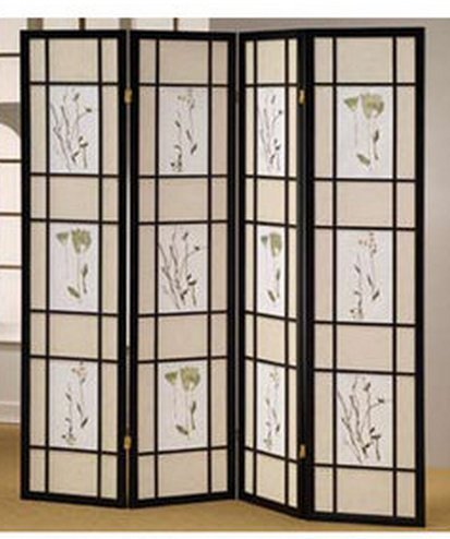 Room Floral Divider Oriental (4 Panel Room Divider Coaster Oriental Floral - Black/Cherry/Natural by SQUARE FURNITURE)