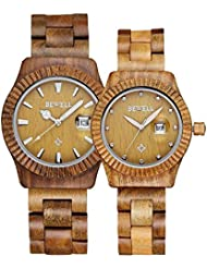 Men Women Wooden Watch Fashion Retro Analog Quartz Couple Watches for Him and Her Lovers Wristwatch