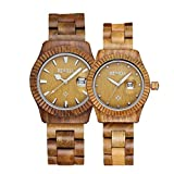 Men Women Wooden Watch Fashion Retro Analog Quartz Couple Watches for Him and Her Lovers' Wristwatch
