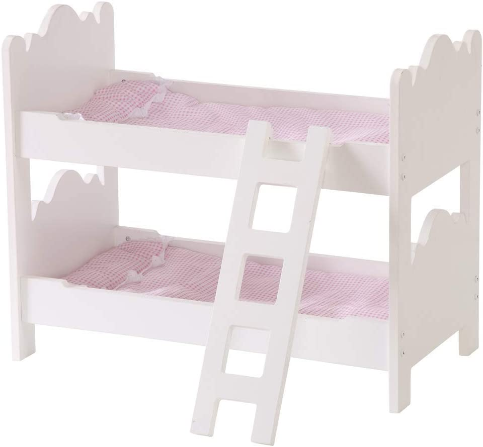 HILIROOM Dolls Bunk Beds 18 inch, Baby Doll Bunk Bed Bedroom, Wooden Dollhouse Bunk Beds, for Babies American Girl Dolls (White)
