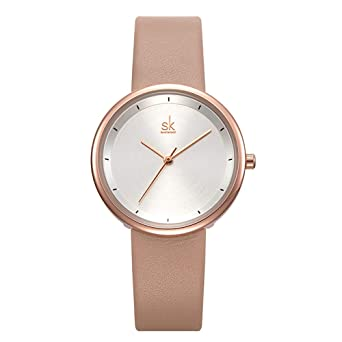 SHENGKE Minimalist Women Watches Leather Band Quartz Analog Casual Fashion Ladies Watch reloj de Mujer