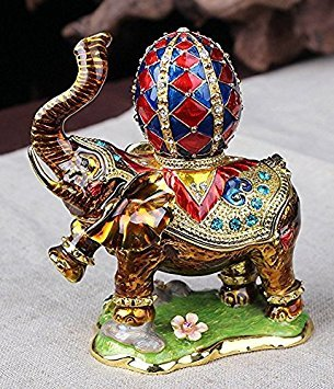 Cute Elephant Jeweled Trinket Box Elephant Box with for sale  Delivered anywhere in USA