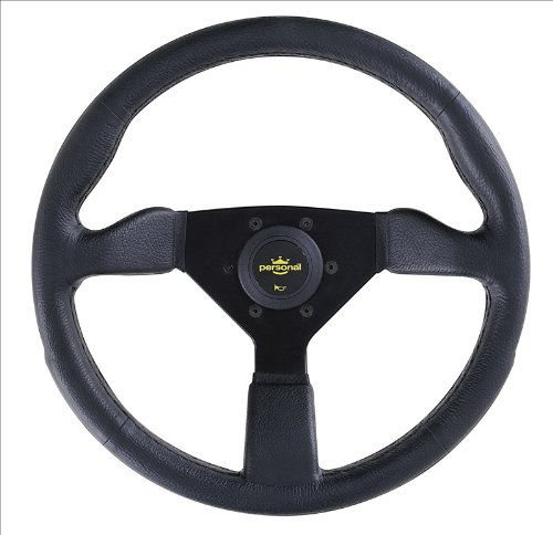Personal Steering Wheel - Grinta - 350mm (13.78 inches) - Black Polyurethane with Black Spokes - Part # 8430.35.2001 (Steering Wheel Personal)