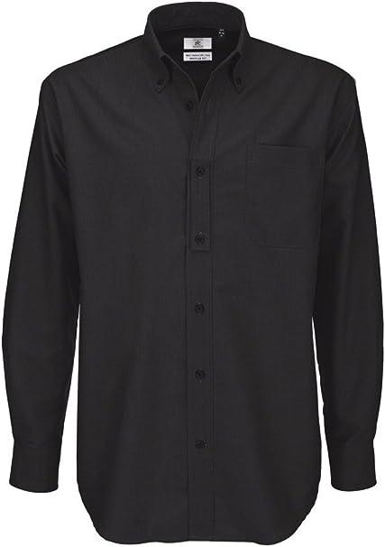 5XL Blu Oxford B/&C Camicia Classica Manica Lunga Uomo
