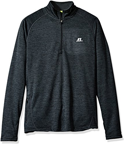 Russell Athletic Men's Space-Dye Grid Fleece 1/4 Zip, Black Space/Dye, Large