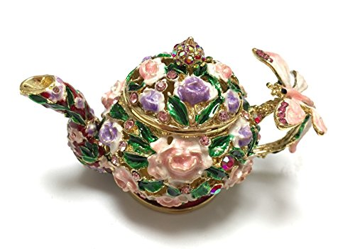 Floral Flower Pot Jeweled Trinket Box with a Butteryfly on Handle (Pink Floral) ()