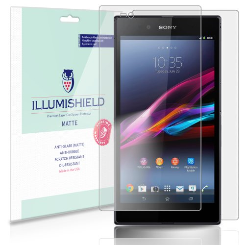 iLLumiShield Matte Front + Back Protector Compatible with Sony Xperia Z Ultra (3-Pack) Anti-Glare Shield Anti-Bubble and Anti-Fingerprint PET Film (Sony Xperia Z Screen Protector)