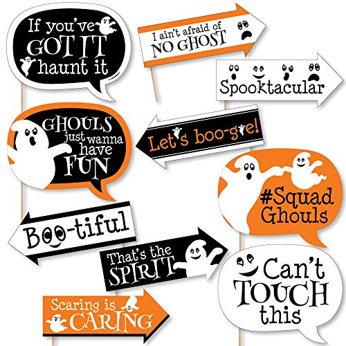 Funny Spooky Ghost - Halloween Party Photo Booth Props Kit - 10 Piece