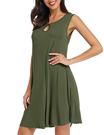 96a64ee693f3 AUPYEO Women's Sleeveless Solid Tunic Tank Dress Casual Swing T-Shirt  Dresses Army Green