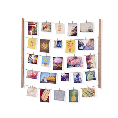 Umbra Hangit Photo Display - DIY Picture Frames Collage Set Includes Picture Hanging Wire Twine Cords, Natural Wood Wall Mounts and Clothespin Clips for Hanging Photos, Prints and Artwork ()