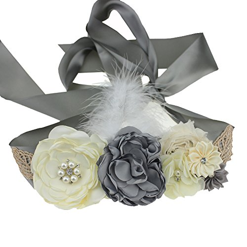 (Maternity Pregnancy Flower Sash Wedding Bridal Belt Rhinestone Feather Sash Baby Shower)
