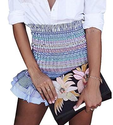Janestone Women High Waist Elastic Rainbow Striped Ruffles Mini Pencil Bodycon Skirt