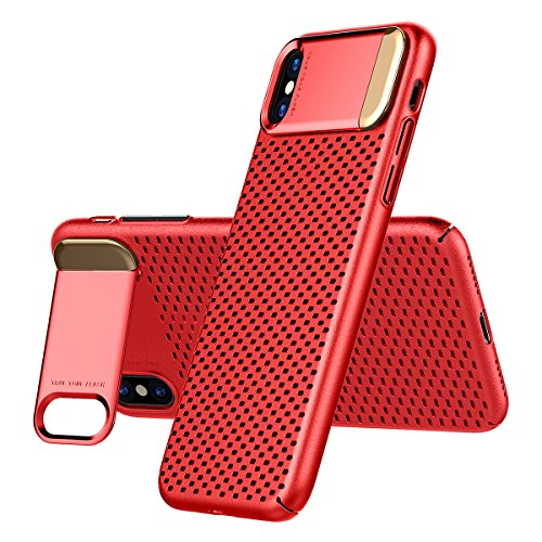 iPhone X Heat Dissipation Case, AICase Breathing Ultra Slim iPhone X Hard PC Metal Kickstand and Honeycomb Heat Dissipation Shockproof Hard PC Cover for Apple iPhone X/10 (Red)