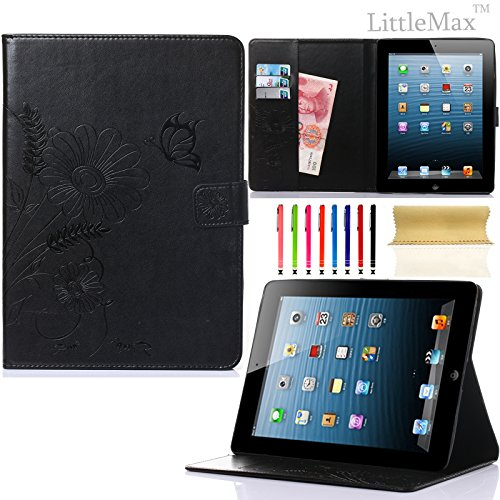 Pure Peony Series (iPad 4 Case,iPad 2 3 Case-LittleMax Smart Leather Case Embossed Butterfly&Flower Pure Color Series [Magnetic Closure] Stand Case with Card Holder for Apple iPad 2/3/4-#2Black)