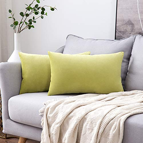 MIULEE Pack of 2 Velvet Pillow Covers Decorative Square Pillowcase Soft Solid Cushion Case for Sofa Bedroom Car 12 x 20 Inch Chartreuse Green (Rectangular Sizes Cushion)