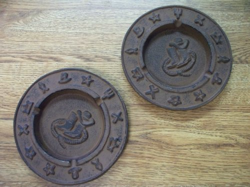 Pair of Cast Iron Ashtrays Western or Southwestern Decor
