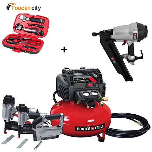 Porter-Cable 6 Gal. 150 PSI Portable Electric Air Compressor 16 & 18-GA Nailer & 3/8 in. Stapler Combo Kit (3-Tool) w/ Framing Nailer PCFP12234FR350B and Toucan City Tool Kit ()