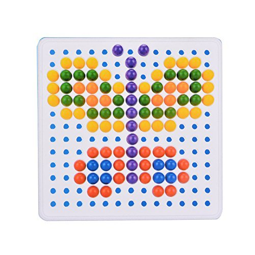 ThinkMax Mushroom Nails Jigsaw Puzzle Game Creative Mosaic Puzzle Pegboard Eductional Toys (Mosaic Tray Puzzle)