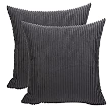 "Pillow Covers,Famibay Square Solid Cushion Cover With Invisible Zipper For Sofa,Decorative Throw Pillow Case Velvet Corduroy pillow covers decorative (Black, 24""x24"")"