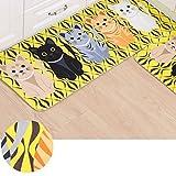 "Essort Cute Area Rugs, Cartoon Cat Carpet Flannel Material Cat Area Rug Yellow Kitchen Long Mats for Bedroom or Bathroom, Non Slip Rug Pad for Foot Anti Slip Door Mat 47""X 19''"