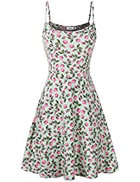 Womens Sleeveless Floral Printed Swing Sundress Spaghetti Strap Dresses