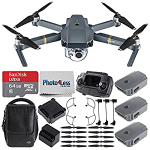 DJI Mavic Pro (Fly More Combo) + DJI Mavic Propeller Guard + SanDisk Ultra 64GB microSDXC UHS-I Card with Adapter + Photo4Less Cleaning Cloth – Ultimate Value Quadcopter Drone Accessories Bundle