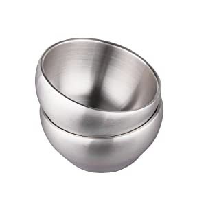 IMEEA 28oz Heavy Duty Double-deck Brushed SUS304 Stainless Steel Serving Bowls Set BPA Free, Set of 2 (5.9inch)