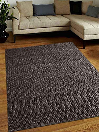 Rugsotic Carpets Hand Woven Jute 8'x10' Eco-Friendly Area Rug Solid Charcoal J00023