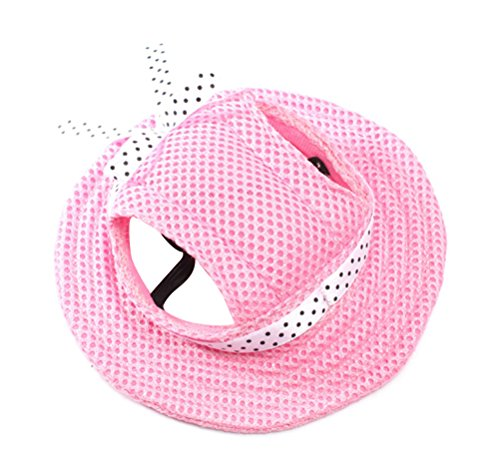 Freerun Round Brim Pet Cap Visor Hat Pet Dog Mesh Porous Cap with Ear Holes for Small Dogs - Pink, S