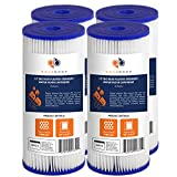 4-PACK Of 5 Micron Big Blue 10'' x 4.5'' Pleated Washable Sediment Water Filter by Aquaboon