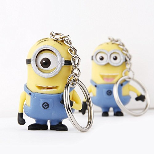 Cute Cartoon Despicable Me 3D Eye Small Minions Anime Doll Rubber Action Figure classic Kid toys Key Chains by Worldwidesale