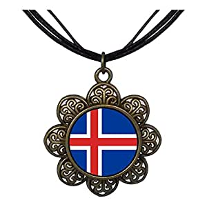 Chicforest Bronze Retro Style Iceland flag Sun Flower Pendant
